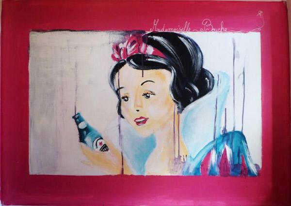 blanche_neige_biere_kronenbourg_art_peinture_acrylique_toile_melle_mademoiselle_bouche