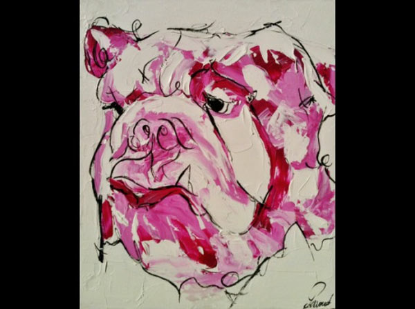 bulldog_animaux_art_peinture_acrylique_toile_melle_mademoiselle_bouche