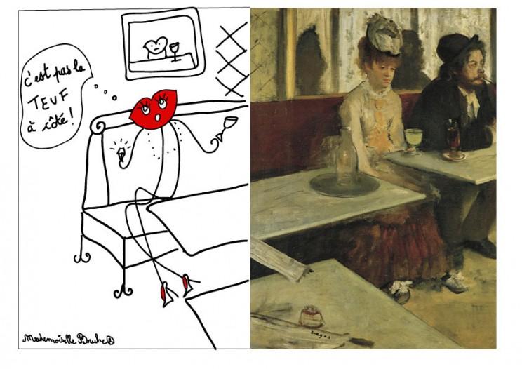 cafe_renoir_bar_art_verre_auguste_humour_dessin_rouge_melle_mademoiselle_bouche