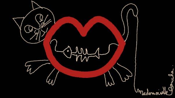 chat_cat_poisson_fish_arrete_illustration_feminin_art_melle_mademoiselle_bouche_brand