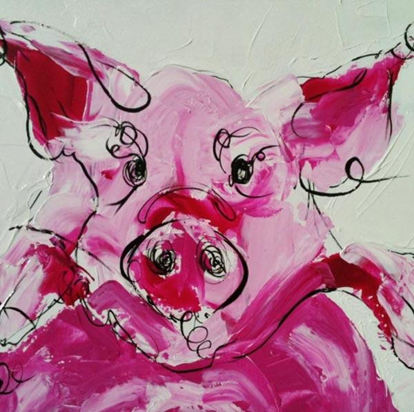 cochon_animaux_art_peinture_acrylique_toile_melle_mademoiselle_bouche