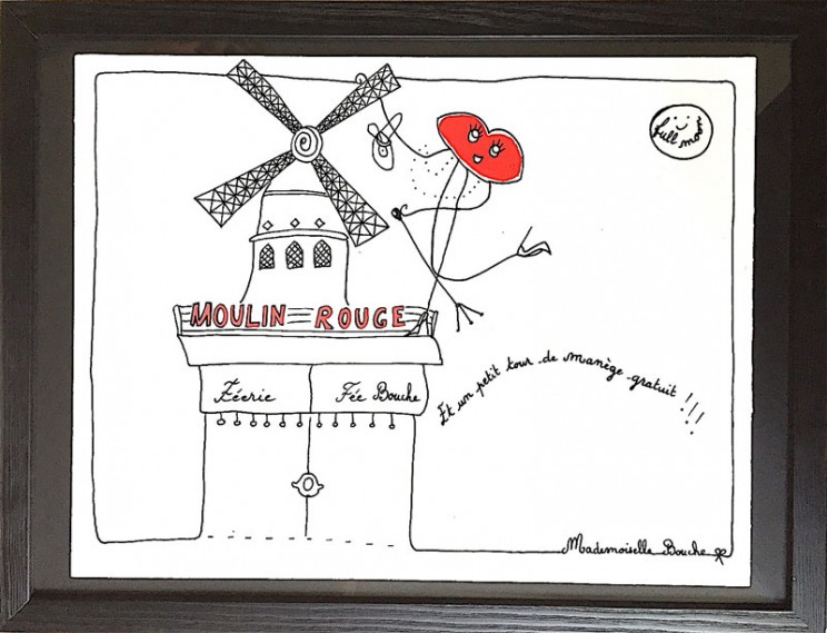 12_sortir_bourgeoise_moulin_rouge_paris_tourisme_sortir_manège_tour_france_culture_tourisme_art_illustration_humour_acrylique_tableau_carosse_melle_mademoiselle_bouche