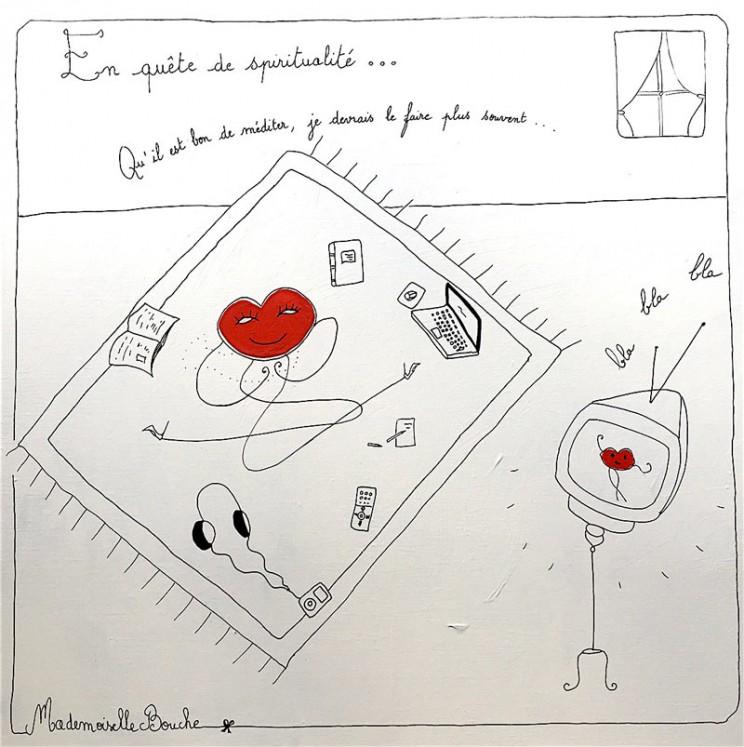 14_tapis_bourgeoise_spiritualite_zen_japon_toile_art_illustration_artiste_humour_acrylique_tableau_dessin_meditation_melle_mademoiselle_bouche
