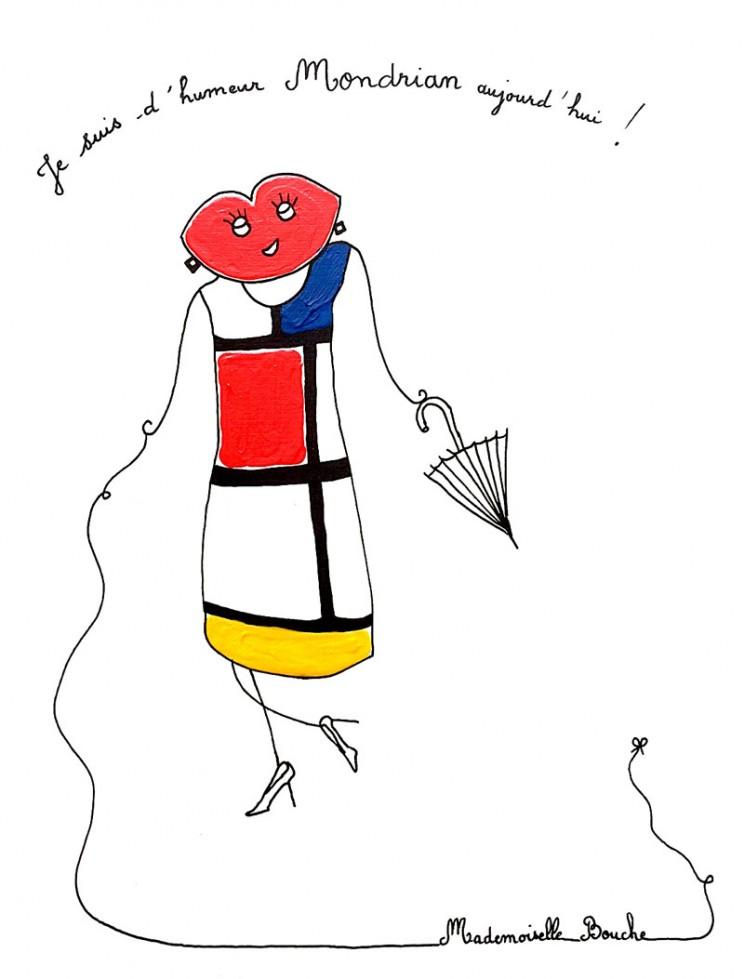 15_art_bourgeoise_mode_mondrian_robe_saint_laurent_haute_couture_toile_art_illustration_humour_acrylique_tableau_melle_mademoiselle_bouche