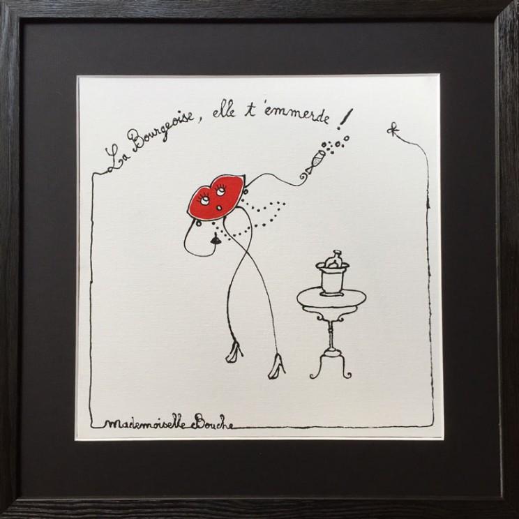 2_toile_bourgeoise_emmerde_art_illustration_humour_acrylique_tableau_dessin_melle_mademoiselle_bouche