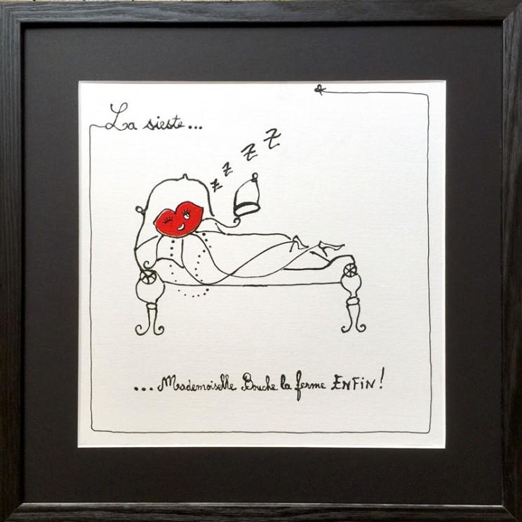 3_sieste_bourgeoise_fermer_feminin_dessin_mode_art_illustration_humour_acrylique_tableau_carosse_melle_mademoiselle_bouche