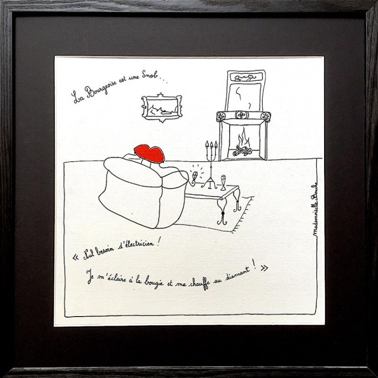 5_snob_bourgeoise_diamant_luxe_bougie_electricite_toile_art_illustration_humour_acrylique_tableau_melle_mademoiselle_bouche