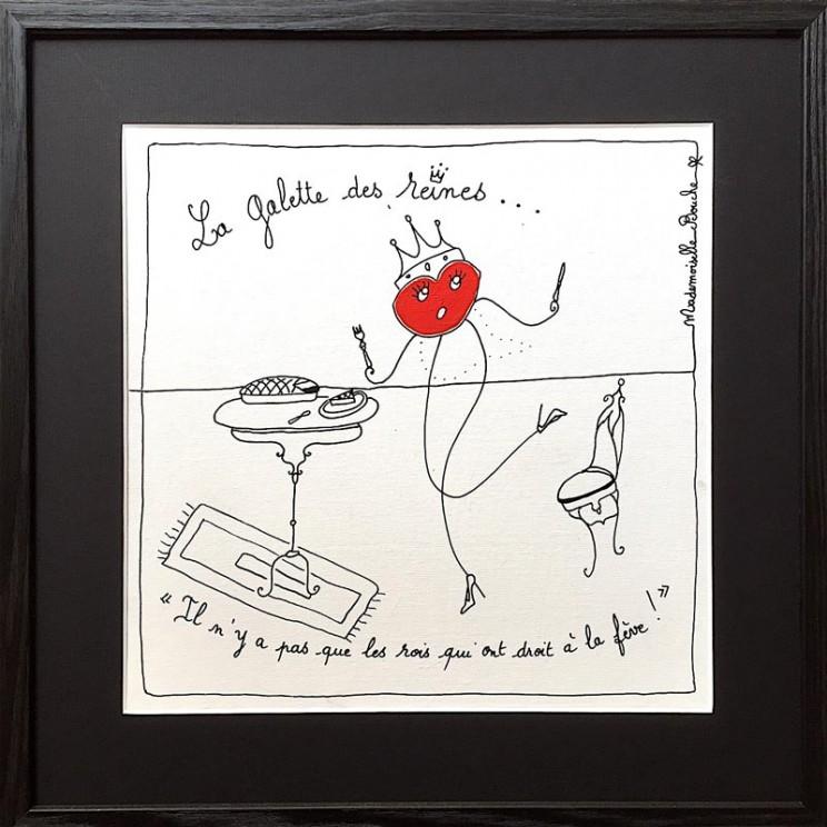 7_manger_bourgeoise_galette_épiphanie_roi_couronne_reine_fève_reines_toile_art_illustration_humour_acrylique_tableau_melle_mademoiselle_bouche
