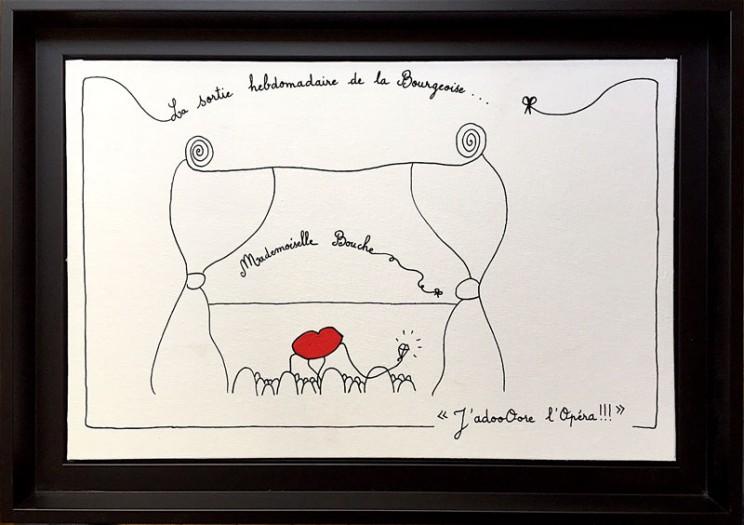 9_adore_bourgeoise_opera_loisir_sortie_hebdomadaire_toile_art_illustration_humour_acrylique_tableau_melle_mademoiselle_bouche