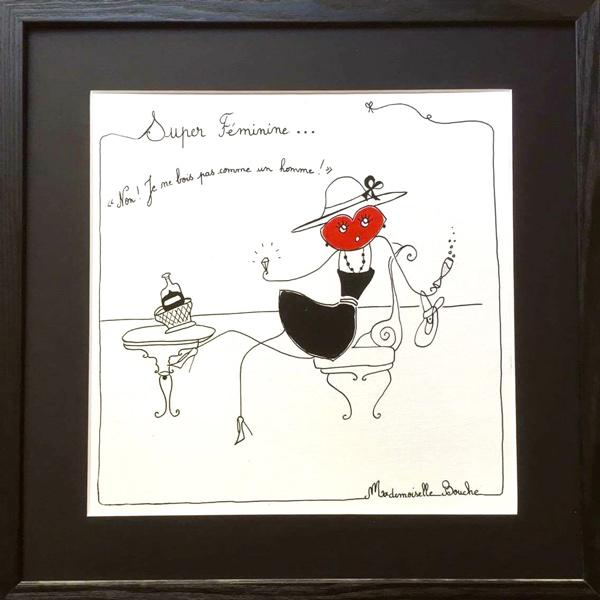 bourgeoise_feminin_feminine_toile_art_boire_homme_illustration_humour_acrylique_tableau_melle_mademoiselle_bouche