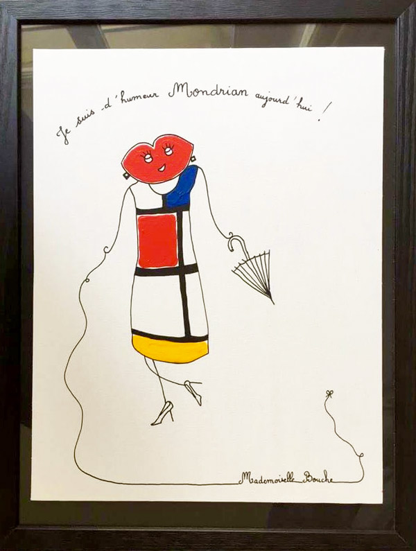 bourgeoise_mode_mondrian_robe_saint_laurent_haute_couture_toile_art_illustration_humour_acrylique_tableau_melle_mademoiselle_bouche
