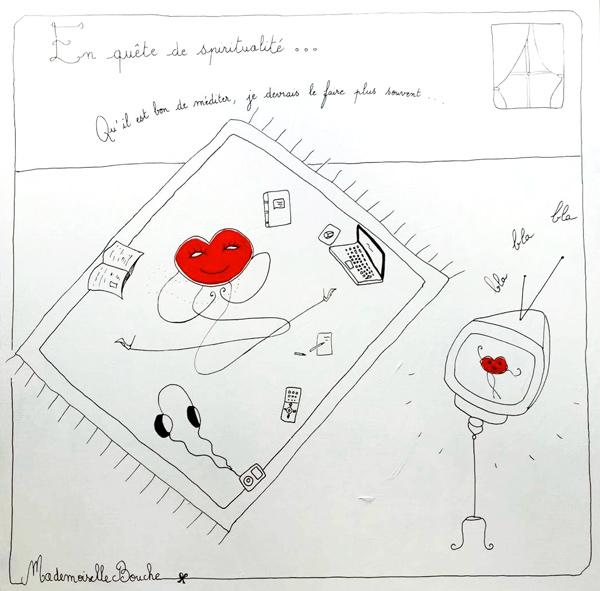 bourgeoise_spiritualite_zen_japon_toile_art_illustration_artiste_humour_acrylique_tableau_dessin_meditation_melle_mademoiselle_bouche