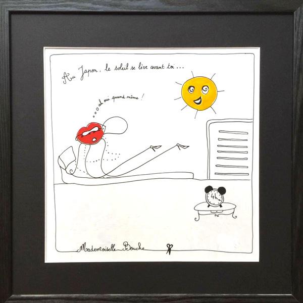 bourgeoise_voyage_japon_soleil_levant_reveil_toile_art_illustration_humour_acrylique_tableau_japonais_melle_mademoiselle_bouche